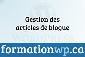 Gestion des articles de blogue sur Wordpress